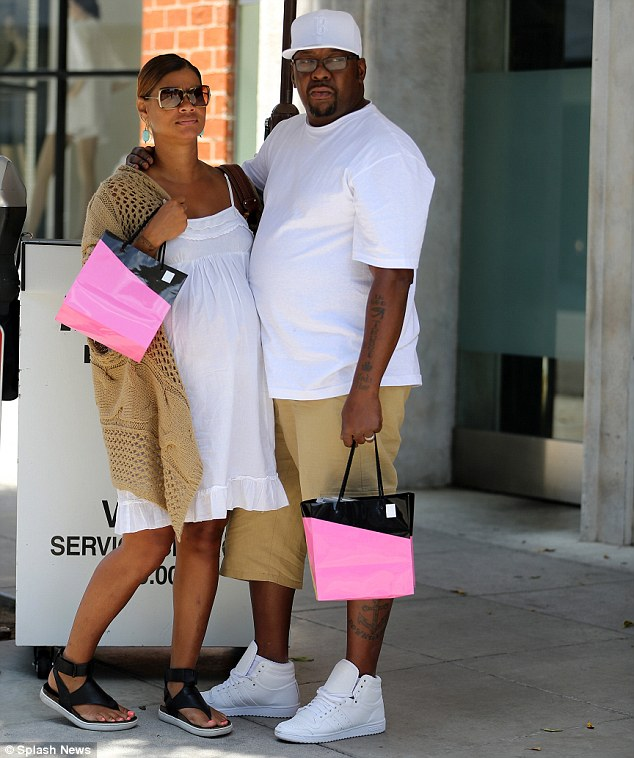 Taking a break: Bobby Brown took time out from caring for his ailing daughter Bobbi Kristina on Monday to enjoy lunch in Beverly Hills with his pregnant wife Alicia Etheredge-Brown