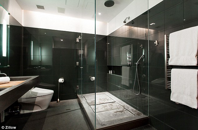 Clean lines: The master bathroom is no fuss and very contemporary