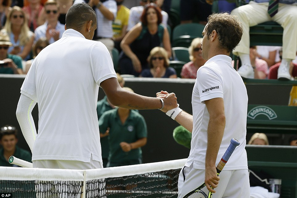 Kyrgioswas heavily criticised in the aftermath of his 7-5, 6-1, 6-7 (7-9), 7-6 (8-6) fourth-round loss to Gasquet