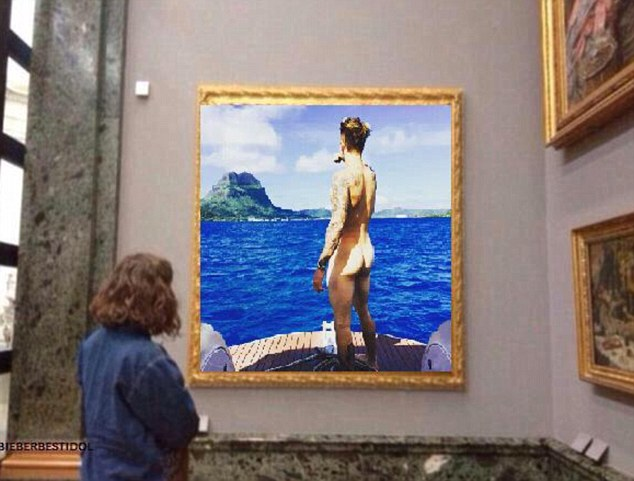 Comparing Justin's bottom to a work of art, one meme saw the image hung in a gold frame in a museum