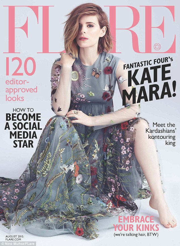 Fantastic: Kate Mara looked stunning in a floaty floral gown on the cover of the August issue of Flare magazine