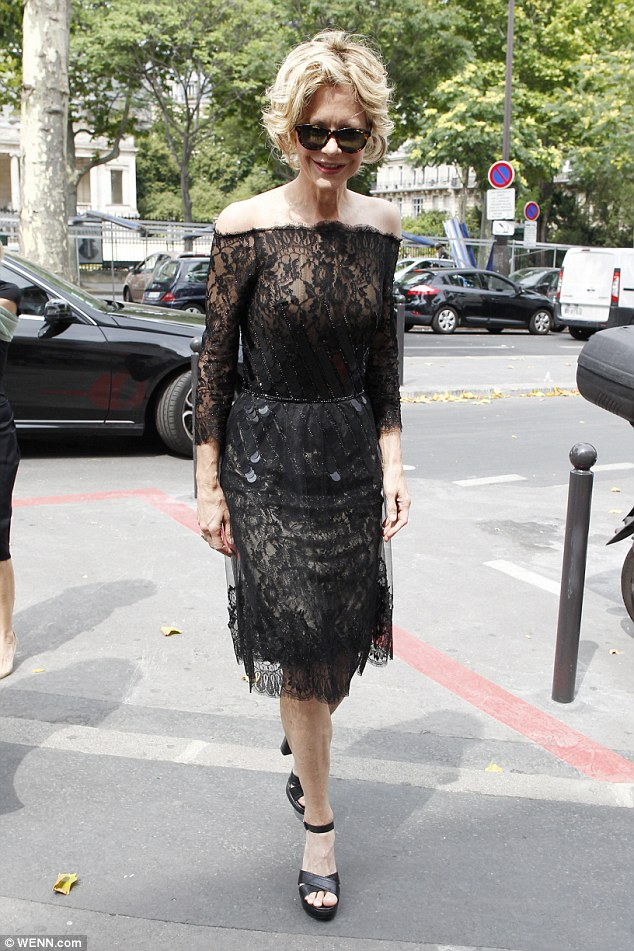 You've Got Style! Meg Ryan looked ultra chic in sheer black beaded lace dress as she stepped out in Paris