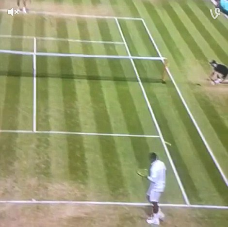 Kyrgios walks away from another serve in the second set