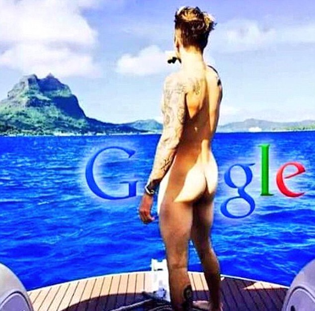 One cheeky eagle-eyed Belieber super-imposed the Google logo around Justin's nude backside