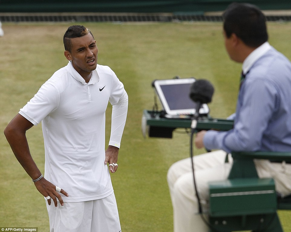 The 20-year-old was a set and a break down when he was given a code violation for an 'audible obscenity' by umpire James Keothavong