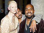 PARIS, FRANCE - JULY 07: (L-R) Tilda Swinton, Haider Ackermann and Kanye West attends the mytheresa.com & Haider Ackermann Dinner At Le Grand Vefour as part of Paris Fashion Week Haute Couture Fall/Winter 2015/2016 on July 7, 2015 in Paris, France.  (Photo by Julien Hekimian/Getty Images)