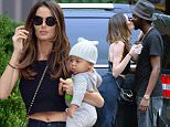 New York, NY - Australian model Nicole Trunfio spends the afternoon with her baby boy Zion Rain in downtown Manhattan. Nicole was spotted carrying her newborn baby and sharing a goodbye kiss with her fiance Gary Clark Jr...AKM-GSI       July  8, 2015..To License These Photos, Please Contact :..Steve Ginsburg..(310) 505-8447..(323) 423-9397..steve@akmgsi.com..sales@akmgsi.com..or..Maria Buda..(917) 242-1505..mbuda@akmgsi.com..ginsburgspalyinc@gmail.com