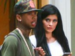 UK CLIENTS MUST CREDIT: AKM-GSI ONLY EXCLUSIVE: 'Keeping Up with the Kardashians' star Kylie Jenner and rapper Tyga are seen leaving seen leaving Kendall Jenner's apartment in Westwood, California.  Pictured: Kylie Jenner and Tyga Ref: SPL1065496  270615   EXCLUSIVE Picture by: AKM-GSI / Splash News