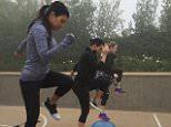 kourtneykardashSister workout sesh this morning in the rain.