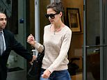 Actress Katie Holmes, wearing jeans, a brown sweater and suede ankle boots, runs errands in New York City on July 9, 2015.  Pictured: Katie Holmes Ref: SPL1074363  090715   Picture by: Christopher Peterson/Splash News  Splash News and Pictures Los Angeles: 310-821-2666 New York: 212-619-2666 London: 870-934-2666 photodesk@splashnews.com