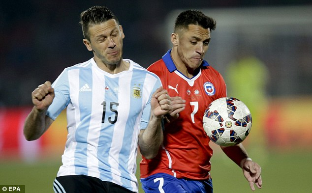 Demichelis tussles withAlexis Sanchez before his Argentina side lost the Copa America final to hosts Chile