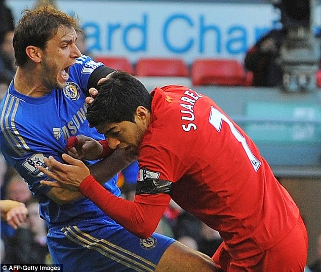 Suarez's second bite, which came when he was a Liverpool player, was on Chelsea's Branislav Ivanovic