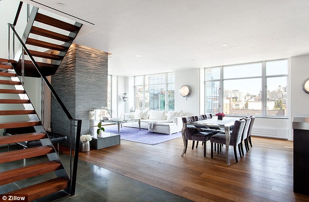Great views: Thethree-bedroom, two-bathroom 2,400-square-feet penthouse duplex is light and airy with a contemporary feel