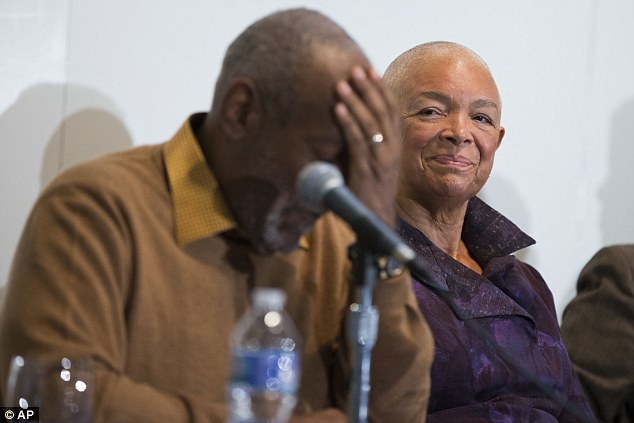 Hard times: Camille Cosby looks on as her husband speaks at a news conference last November about an art exhibit the two put on at the Smithsonian as rape allegations began pouring in. Goins is the only one not barred for prosecution by the statute of limitations