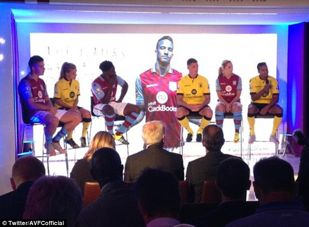 The club revealed their new kit  at Villa Park and new signing Micah Richards (third left) was on hand