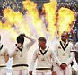 CARDIFF, WALES - JULY 08:  Michael Clarke, Steve Smith, David Warner, Nathan Lyon and Mitchell Johnson of Australia look on during the opening ceremony during the during day one of the 1st Investec Ashes Test match between England and Australia at SWALEC Stadium on July 8, 2015 in Cardiff, United Kingdom.  (Photo by Ryan Pierse/Getty Images)
