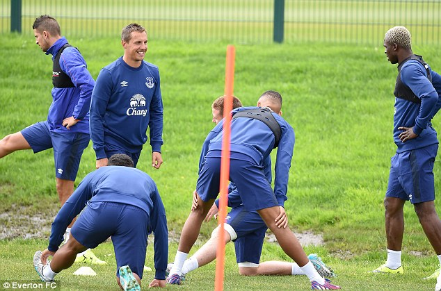 The Everton squad are put through their paces on day two of pre-season training at Finch Farm on Tuesday