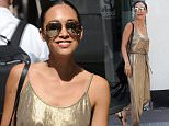 LONDON, ENGLAND - JULY 09:  Myleene Klass seen leaving Smooth Radio on July 9, 2015 in London, England.  (Photo by Neil Mockford/Alex Huckle/GC Images)