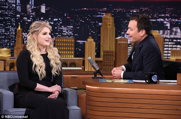 Hitmaker: Meghan rose to fame from her 2014 hit All About That Bass. Since then, the singer has been on a tear with other hits like Lips Are Movin'. Here the singer is seen at her May appearance on The Tonight Show Starring Jimmy Fallon