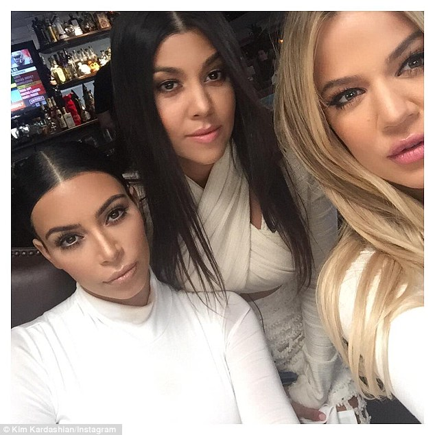 Strike a pose: Once inside the Mexican restaurant they took funny photos that Kim shares to Instagram