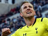 NEWCASTLE UPON TYNE, ENGLAND - APRIL 19:  Harry Kane of Spurs celebrates scoring their third goal during the Barclays Premier League match between Newcastle United and Tottenham Hotspur at St James' Park on April 19, 2015 in Newcastle upon Tyne, England.  (Photo by Nigel Roddis/Getty Images)