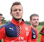ST ALBANS, ENGLAND - JULY 08: (L-R) Jack Wilshere and Dan Crowley of Arsenal during a training session at London Colney  on July 8, 2015 in St Albans, England. (Photo by Stuart MacFarlane/Arsenal FC via Getty Images)