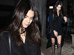 West Hollywood, CA - Kendall Jenner leaves a dinner with friends at Madeo in West Hollywood.  The reality star-turned model turned heads in a black blazer over a black dress and matching pair of gladiator sandals. AKM-GSI    July  8, 2015 To License These Photos, Please Contact : Steve Ginsburg (310) 505-8447 (323) 423-9397 steve@akmgsi.com sales@akmgsi.com or Maria Buda (917) 242-1505 mbuda@akmgsi.com ginsburgspalyinc@gmail.com