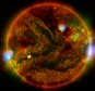 epa04837534 A NASA handout made available on 08 July 2015 shows flaring, active regions of the sun highlighted in this new image combining observations from several telescopes. High-energy X-rays from NASA's Nuclear Spectroscopic Telescope Array (NuSTAR) are shown in blue; low-energy X-rays from Japan's Hinode spacecraft are green; and extreme ultraviolet light from NASA's Solar Dynamics Observatory (SDO) is yellow and red. All three telescopes captured their solar images around the same time on 29 April 2015. The NuSTAR image is a mosaic made from combining smaller images.  EPA/NASA/JPL-Caltech/GSFC/JAXA HANDOUT   EDITORIAL USE ONLY/NO SALES