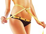 E5CM81 slimming woman body in panties with measure on white background