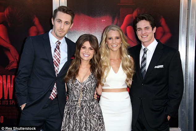 Altogether now: Stars of the filmRyan Shoos, Pfeifer Brown, Cassidy and Reese Mishler (pictured from left to right) posed together