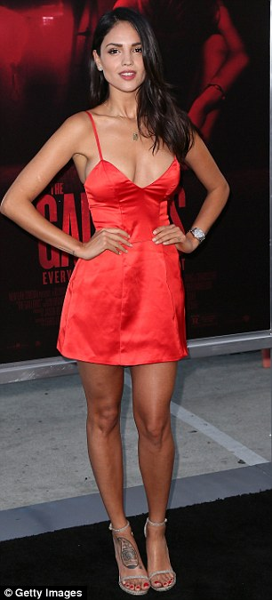 Lady in red: Actress Eiza Gonzalez wowed in a flirty red dress at the premiere