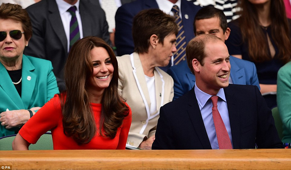 On court: The Duke and Duchess of Cambridge take their seats as they prepare to see Andy Murray at Wimbledon