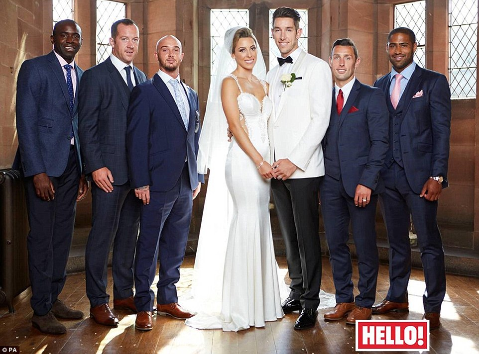 Happy couple Brad Jones and Dani Lawrence pose after their wedding at Peckforton Castle with guests (from left) Fabrice Muamba, Charlie Adam and Stephen Ireland on one side - Scott McDonald and Glen Johnson (right) on the other