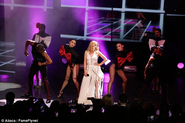 What a performance: Kylie was surrounded by backing dancers throughout her run-through of her hits
