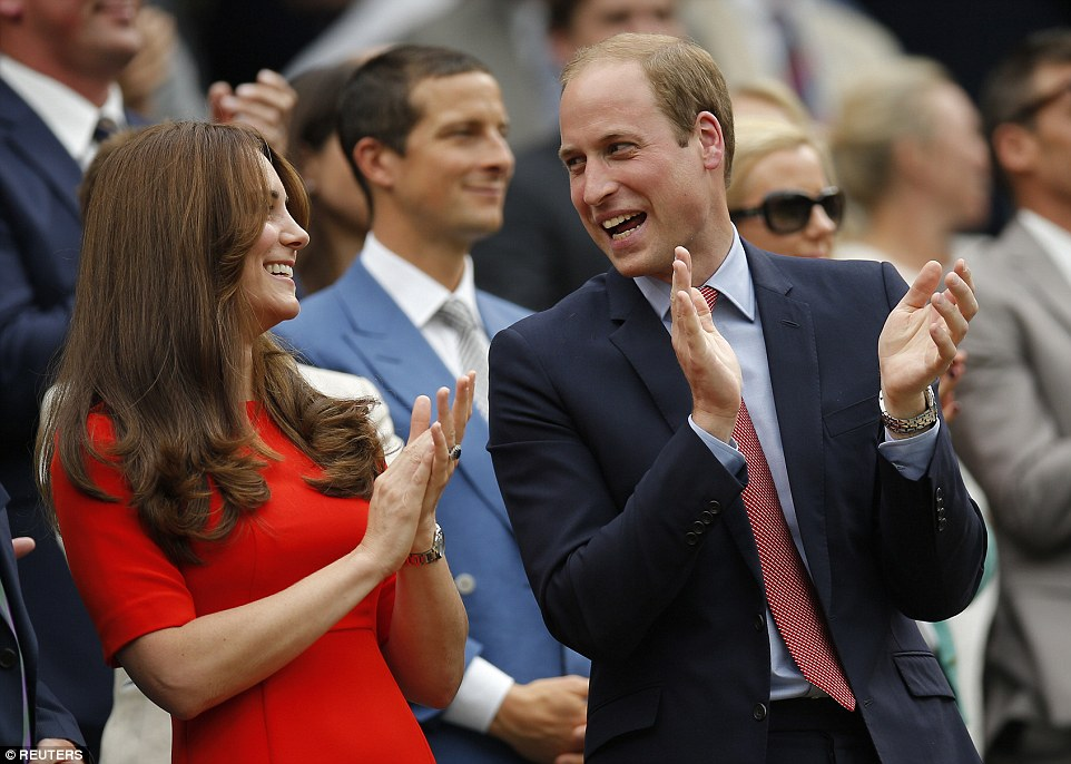 The Duchess of Cambridge and Prince William applaud after Andy Murray wins his quarter final match