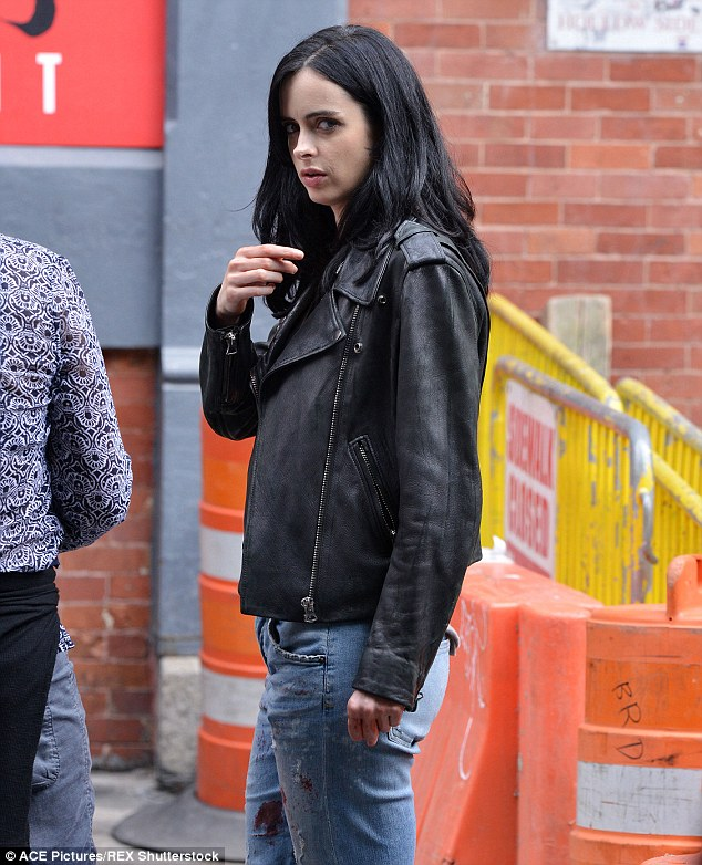 Brooding: The actress - known for portraying Jane Margolis on Breaking Bad - showed off an icy stare as she prepared to return to filming on Tuesday