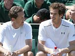 ANDY MURRAY AND JONAS BJORKMAN  DURING PRACTISE ON THE OUTSIDE COURTS AT WIMBLEDONÖ..PICTURE MURRAY SANDERS.