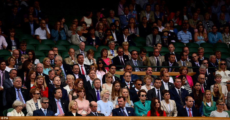 Royal box: Kate and William took their pole position seats in the royal box on centre court