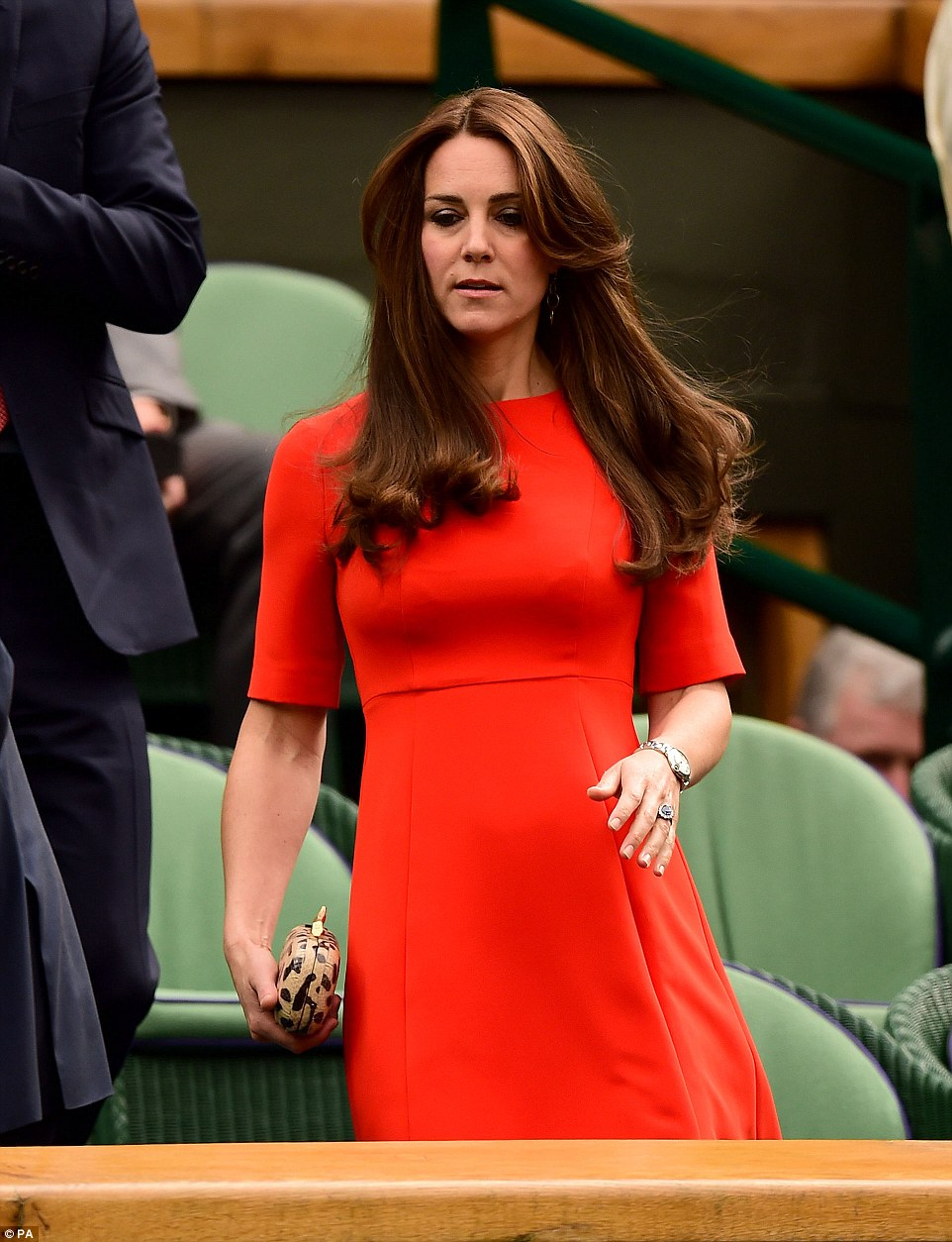 Queen of the high street: The Duchess of Cambridge looked resplendent in a bold red L.K.Bennett dress