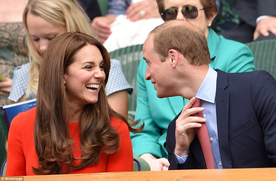 Joking around: New parents Kate and William proved they're still very much in love as they exchanged jokes in the royal box
