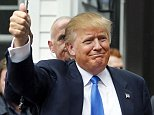 Republican presidential candidate Donald Trump waves as he arrives at a house party Tuesday, June 30, 2015, in Bedford, N.H. (AP Photo/Jim Cole)