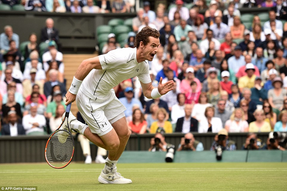 Battling it out: Andy Murray in action against Canadian star, Vasek Pospisil, during their quarter final match