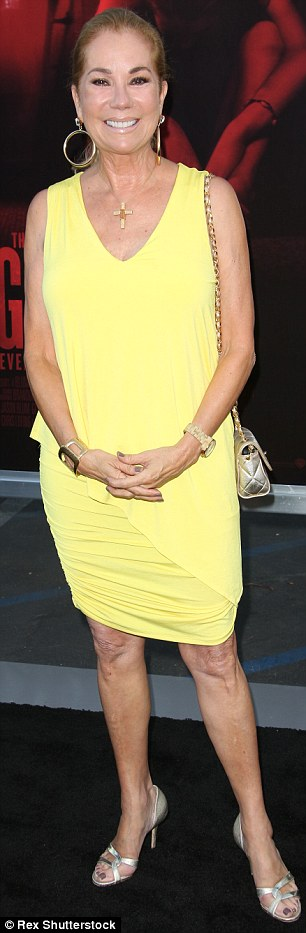 Mellow yellow: The former host of Live With Regis and Kathie Lee sported a yellow sleeveless mini dress along with silver heels