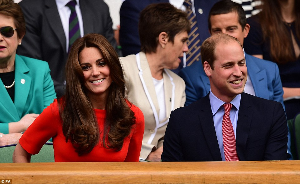 Glowing: Kate looked fresh-faced and happy, and smiled broadly as she took her seat next to her husband