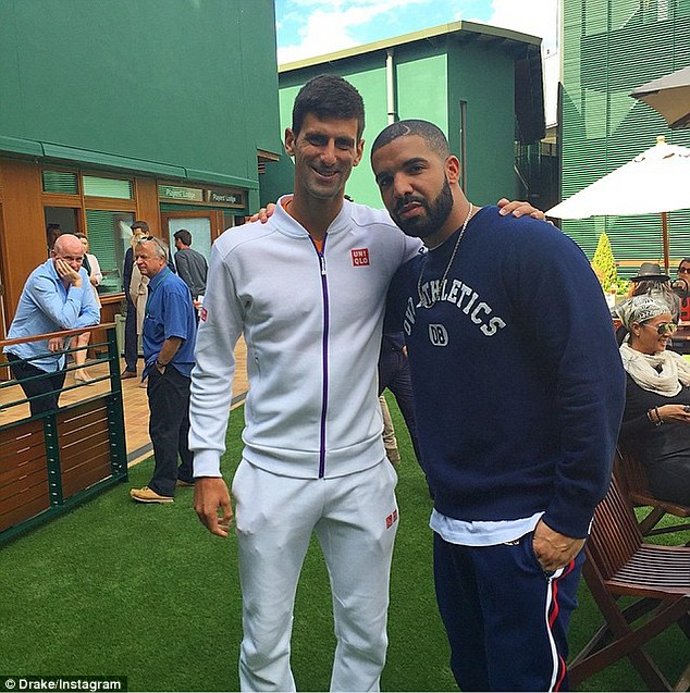 Defending champ: The rapper also posted a photo with Novak Djokovic, who is the current number one tennis player in the world and the defending Wimbledon champ. Drake captioned this one: 'Novak in the cut'
