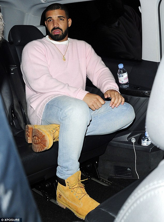 Time to leave: Drake appeared to be in great and content spirits as he made his way back to his hotel