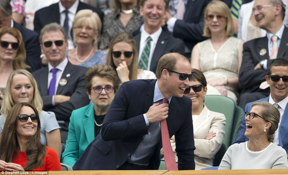 To the delight of his wife Kate and Sophie the Countess of Wessex the royal took the opportunity to give the Royal Box a giggle, jumping up from his seat with a smile