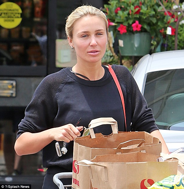Au natural: Alex Gerrard went make-up free as she stocked up on groceries from her local Pavilions supermarket in Beverly Hills on Tuesday