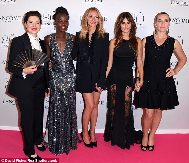 Fabulous five! (L-R) Lancome celeb models Isabella Rossellini, Lupita Nyong'o, Julia Roberts, Penelope  and Kate Winslet were a glamorous gaggle as they walked the pink carpet together