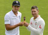 """England cricket captain Alastair Cook (L) and Australia's cricket captain Michael Clark pose with the Ashes trophy ahead of the Ashes test cricket series at the Swalec stadium in Cardiff on July 7, 2015. Australia captain Michael Clarke has insisted his side will play """"hard but fair"""" cricket as they try to win their first away Ashes series in 14 years. AFP PHOTO / GEOFF CADDICK RESTRICTED TO EDITORIAL USE. NO ASSOCIATION WITH DIRECT COMPETITOR OF SPONSOR, PARTNER, OR SUPPLIER OF THE ECBGEOFF CADDICK/AFP/Getty Images"""